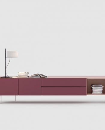 Moble TV laca Burdeos i Rosa | Area One | mobles Ciurans | mobles Gifreu