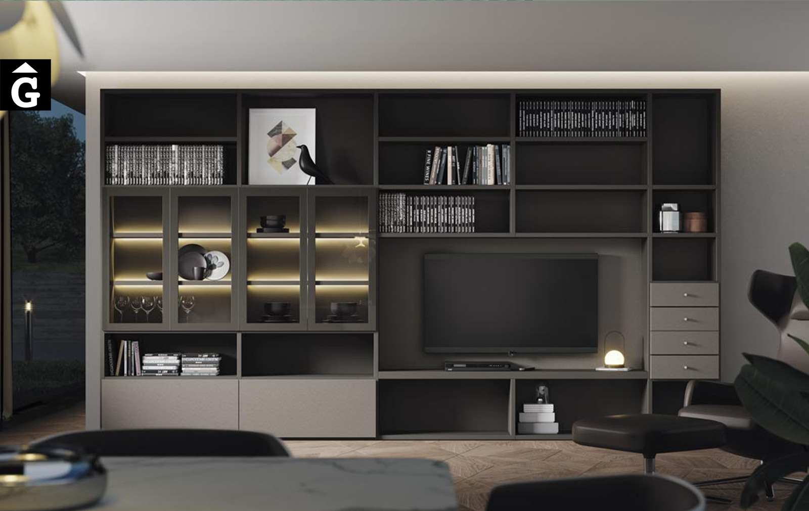 Moble llibreria amb portes i calaixos Airbox | Mobles Living | lagrama | mobles Gifreu
