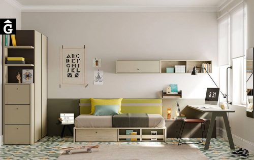 Habitació Juvenil amb llit niu Flash | Llit niu base plana Flash | Capçal Picnic | Jove | Joven | lagrama | mobles Gifreu