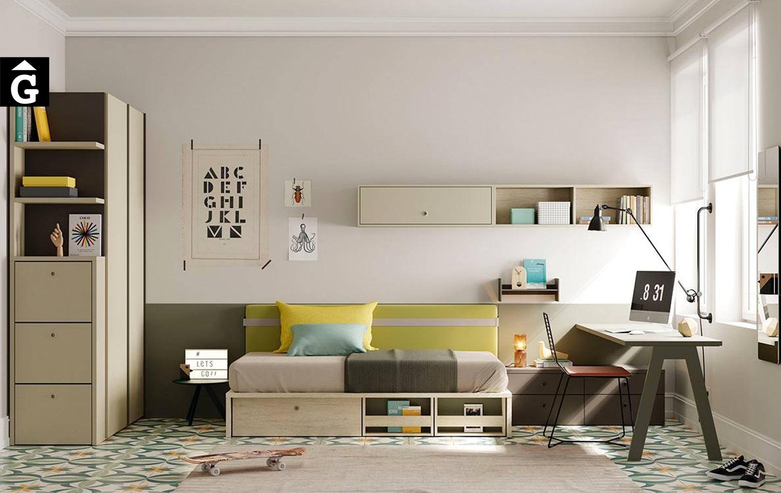 Habitació Juvenil amb llit niu Flash   Llit niu base plana Flash   Capçal Picnic   Jove   Joven   lagrama   mobles Gifreu