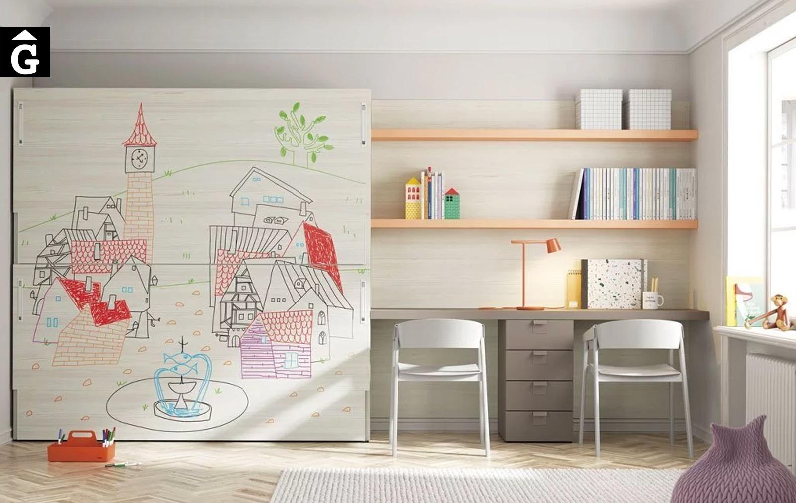 Habitació estudi Up & Down | frontals pissarra | llits abatibles | Pràctics, saludables i segurs | Jotajotape | mobles Gifreu