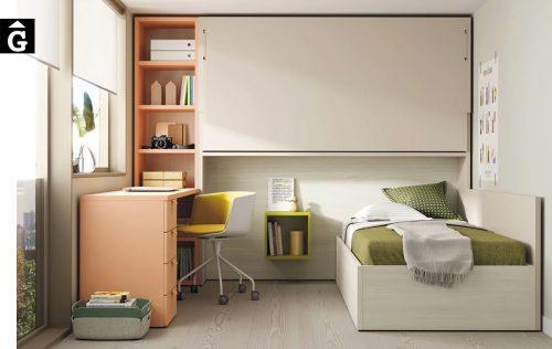Habitació juvenil amb llit abatible alt | Up & Down | llits abatibles | Pràctics, saludables i segurs | Jotajotape | mobles Gifreu