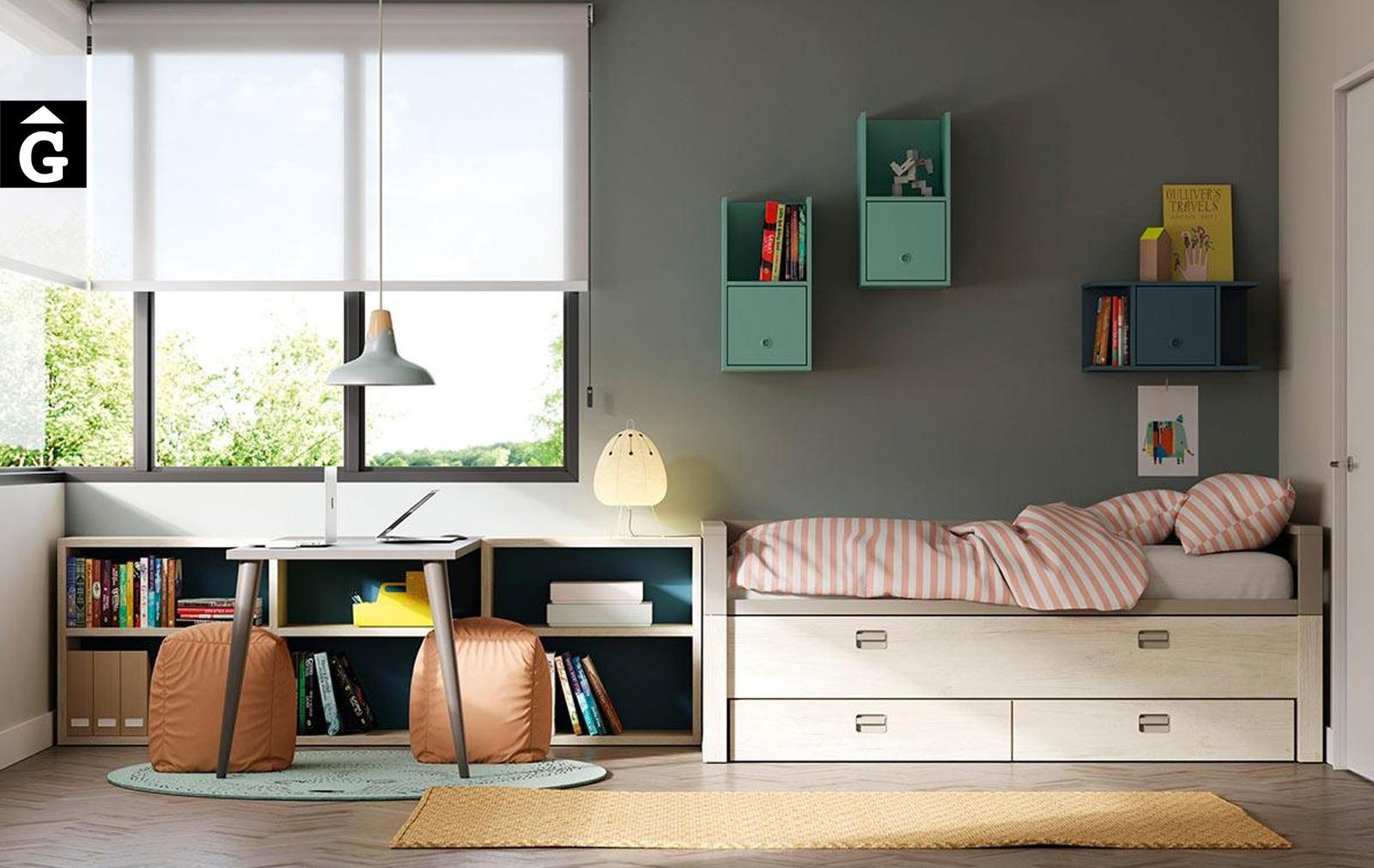 Habitació juvenil amb llit lliscant Geminis   Habitació doble   lagrama   mobles Gifreu
