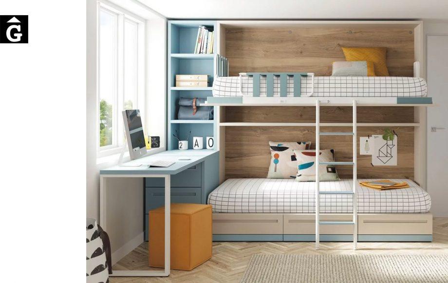 Habitació juvenil area celeste | llit alt obert | Up & Down | llits abatibles | Pràctics, saludables i segurs | Jotajotape | mobles Gifreu