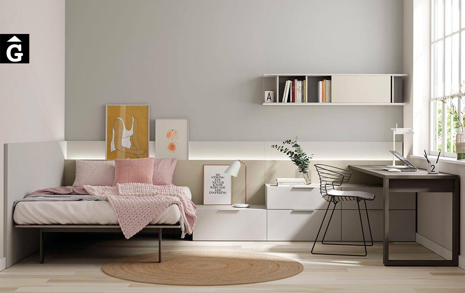 Habitació juvenil capçal llis amb led   lagrama   mobles Gifreu