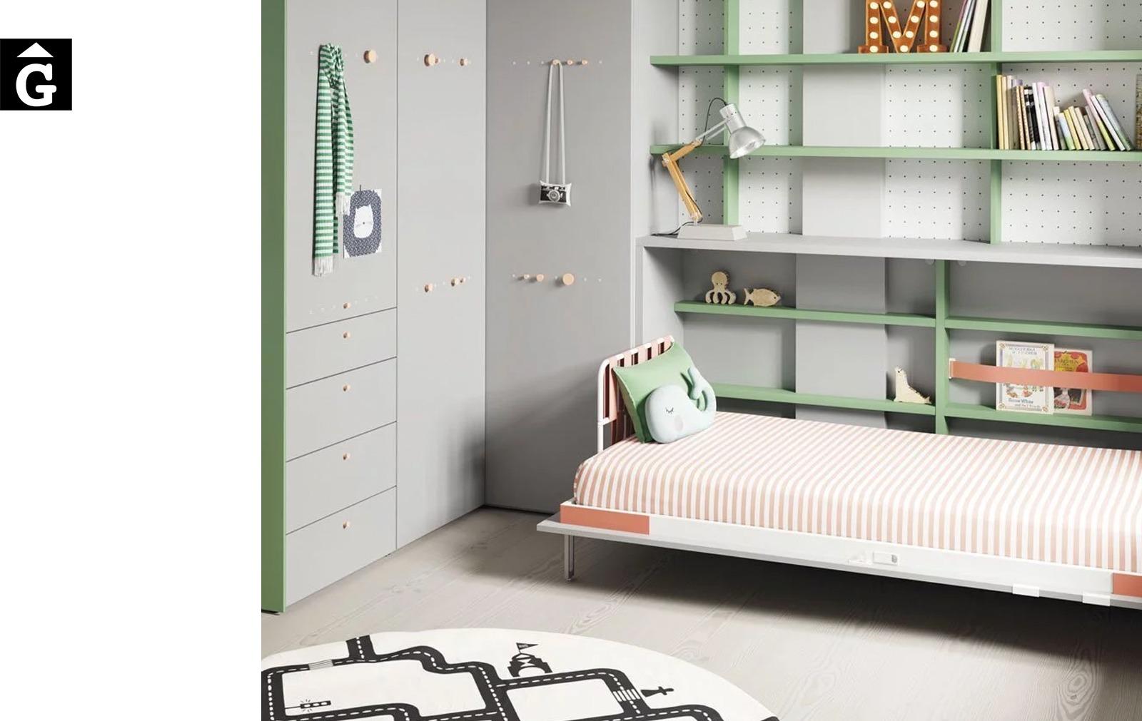 Habitació llit abatible Forest | detall llit obert | Up & Down | llits abatibles | Pràctics, saludables i segurs | Jotajotape | mobles Gifreu