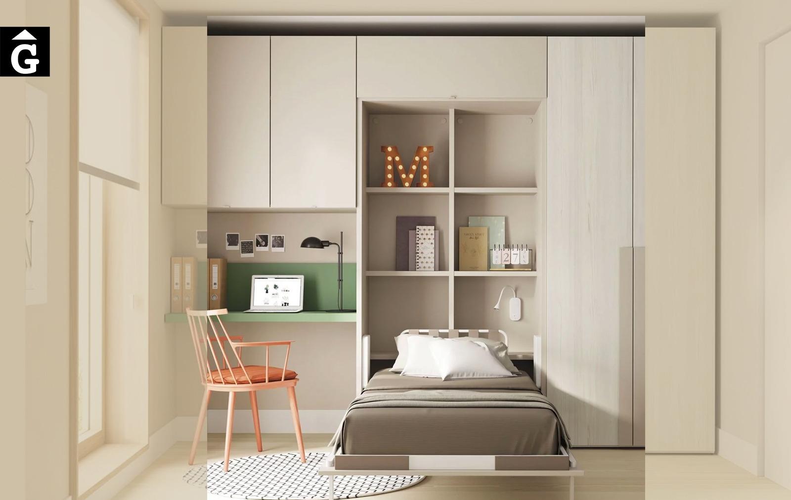 Habitació llit abatible amb escriptori i armari | llit obert | Up & Down | llits abatibles | Pràctics, saludables i segurs | Jotajotape | mobles Gifreu