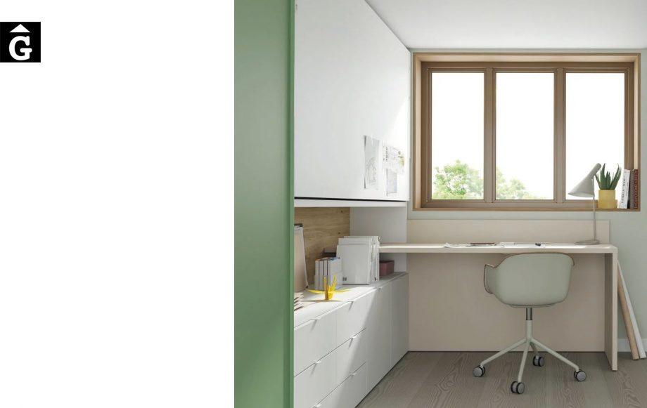 Habitació llit abatible horitzontal alt | detall sobre escriptori | Up & Down | llits abatibles | Pràctics, saludables i segurs | Jotajotape | mobles Gifreu