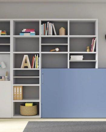 Habitació llit abatible, llibreria i taula