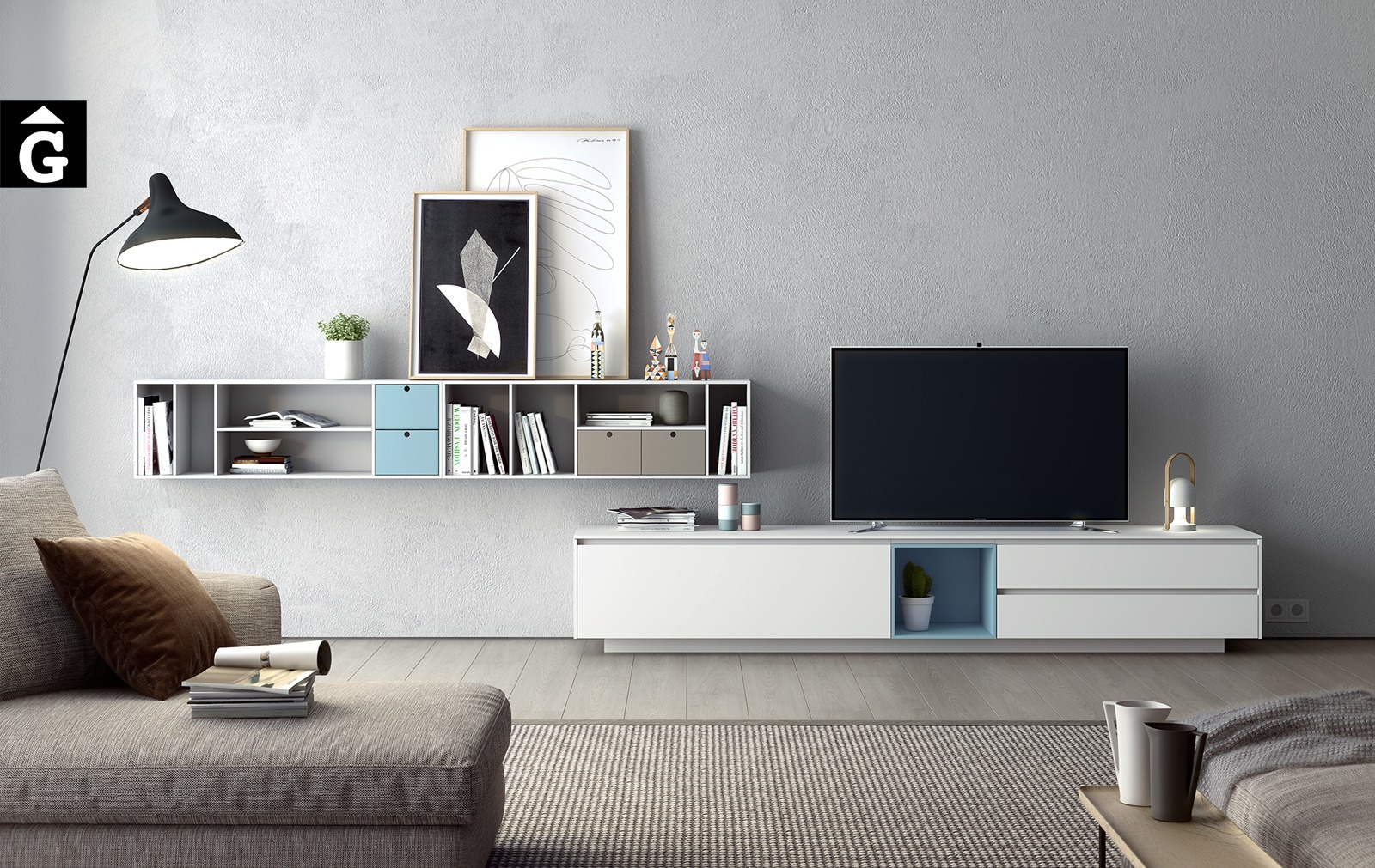 Moble Area Tv laca mate blanca, blava i sorra | Programa de mobiliari Area | mobles Ciurans | mobles Gifreu