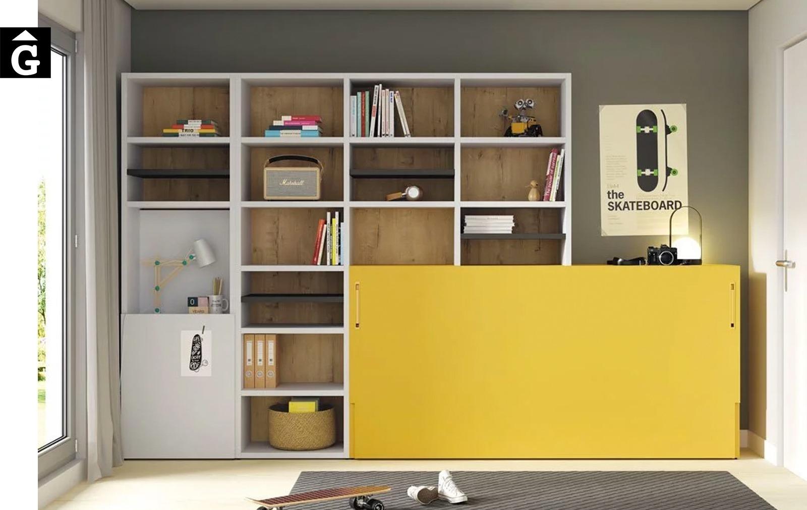 Moble llibreria, llit abatible i taula | Up & Down | llits abatibles | Pràctics, saludables i segurs | Jotajotape | mobles Gifreu