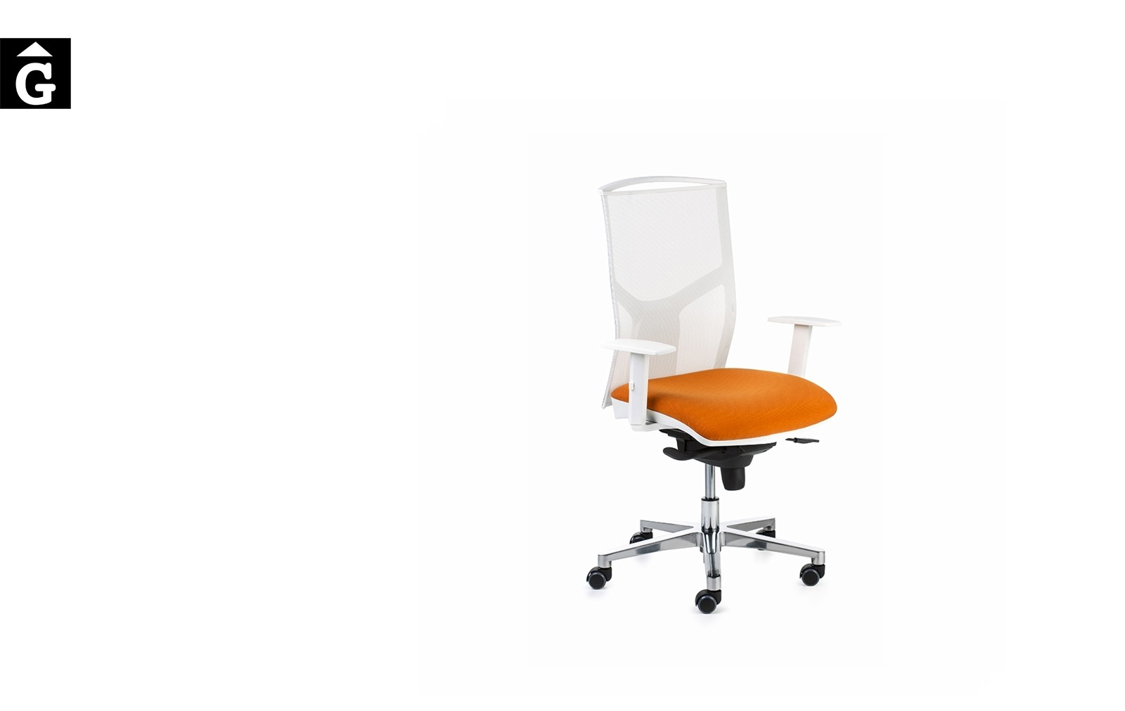 Cadira despatx Akita Pro | Blanc i taronja | Vista genreral | Dile | mobiliari d'oficina molt interessant | Dileoffice | mobles Gifreu | botiga | Contract | Mobles nous oficina