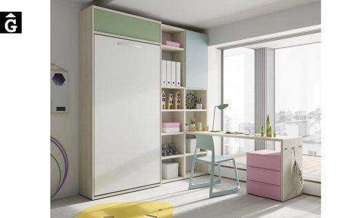 Habitació estudi amb petita llibreria | Up & Down | llits abatibles | Pràctics, saludables i segurs | Jotajotape | mobles Gifreu
