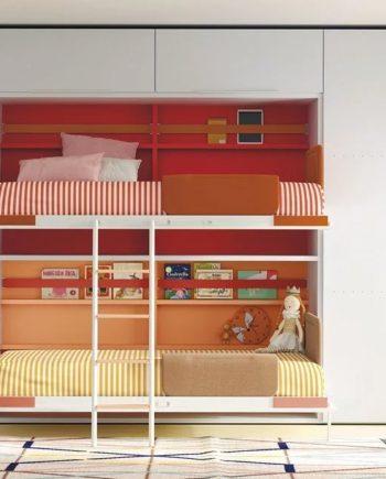 Habitació juvenil amb llitera abatible | llits oberts | Up & Down | llits abatibles | Pràctics, saludables i segurs | Jotajotape | mobles Gifreu