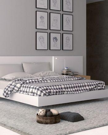 Habitació laca blanca llit gran Sigma   Opció a diferents acabats de laca i xapa fusta natural   Besform mobles Gifreu   Mobles de qualitat i a mida   Girona