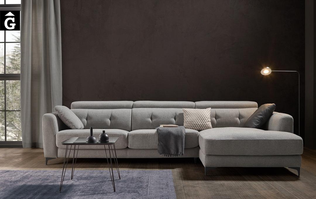 Sofà chaise longue seients lliscants Claudia| Bobbio | Sofàs a mida | grans | llargs | Moderns | Modulars | Per a casa | Comprar sofà | mobles Gifreu | Botiga | Distribuïdor Girona