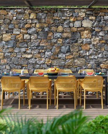 Taula Rio Alu i Cadira Net Senape   Nardi   mobiliari d'exterior amb disseny i a preus perfectes