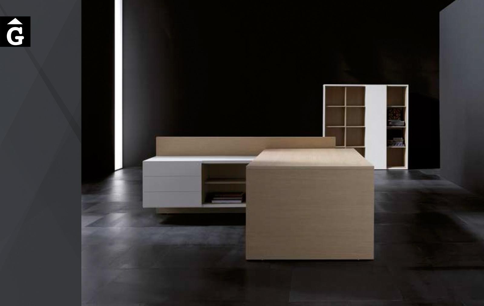 Taula despatx executiu Vektor xapa fusta natural | Forma 5 | mobiliari d'oficina molt interessant | mobles Gifreu | botiga | Contract | Mobles nous d'oficina