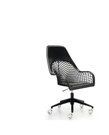 Cadira amb rodes i malla pell Guapa DPA CU de MIDJ Disseny Sempere#Poli  Taules i cadires de disseny actual   modern i conservador  casual i elegant   mobles Gifreu   Productes de qualitat