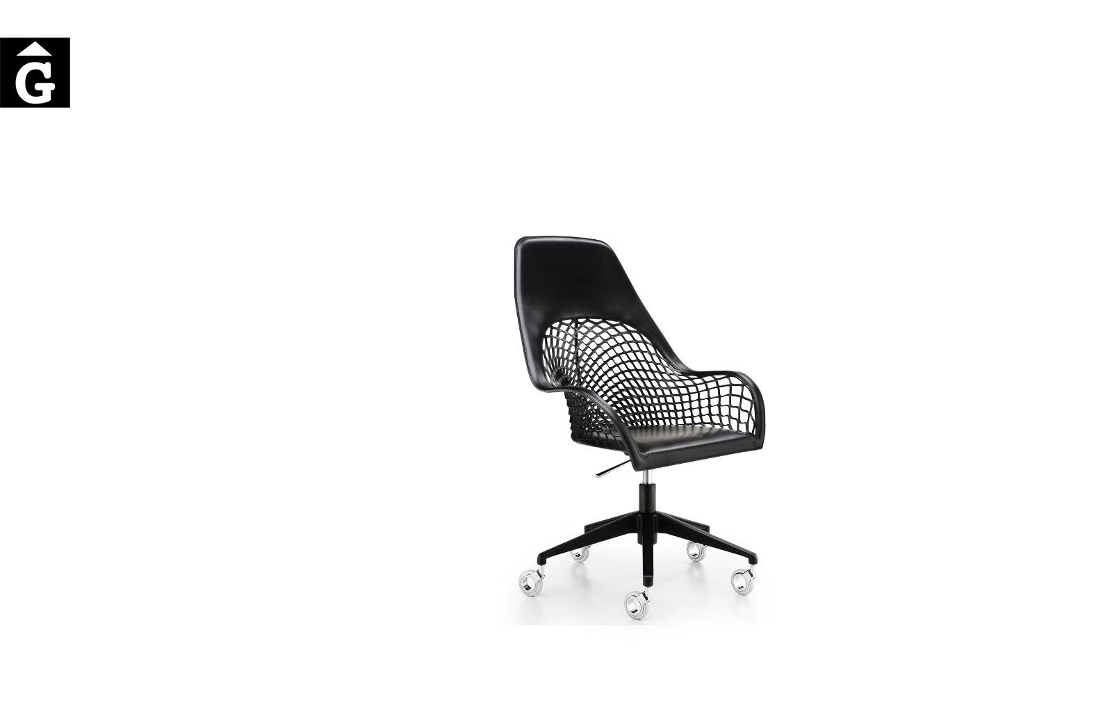 Cadira amb rodes i malla pell Guapa DPA CU de MIDJ Disseny Sempere#Poli |Taules i cadires de disseny actual | modern i conservador| casual i elegant | mobles Gifreu | Productes de qualitat