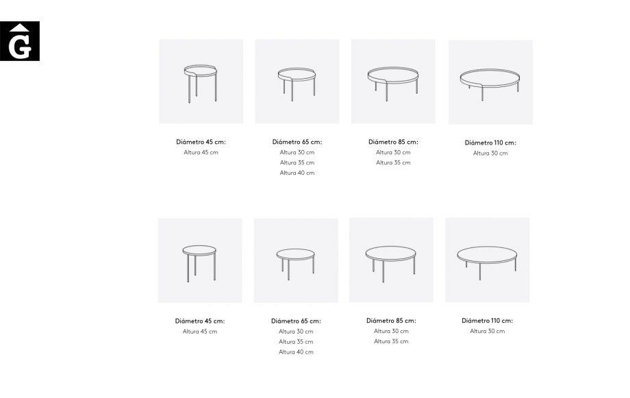 Taules de centre rodones Gau mides possibles | Dissenyades a quatre mans per Silvia Ceñal e Ibon Arrizabalaga | Treku | mobles contemporanis amb tradició | mobles Gifreu
