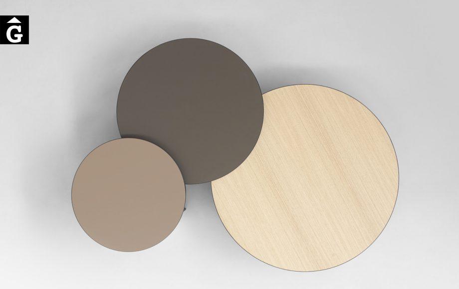 Taules de centre rodones Gau vista d'0cell dissenyades a quatre mans per Silvia Ceñal e Ibon Arrizabalaga | Treku | mobles contemporanis amb tradició | mobles Gifreu